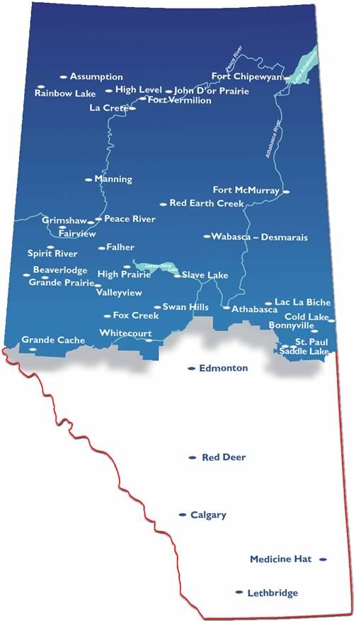 Northern Alberta Map Living in the North | NADC Northern Alberta Map
